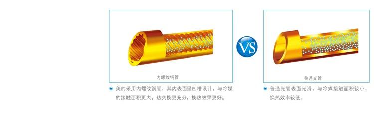 美的空气能热水器采用高效内螺纹铜管