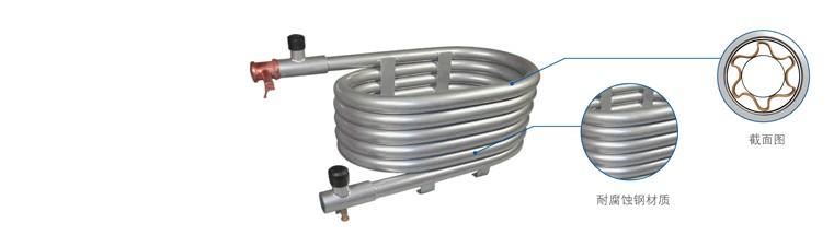 美的空气能热水器采用同轴螺纹套管换热器
